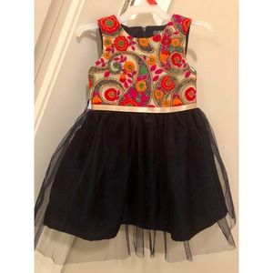 ATUN Navy Dress w/ Embroidered Bodice